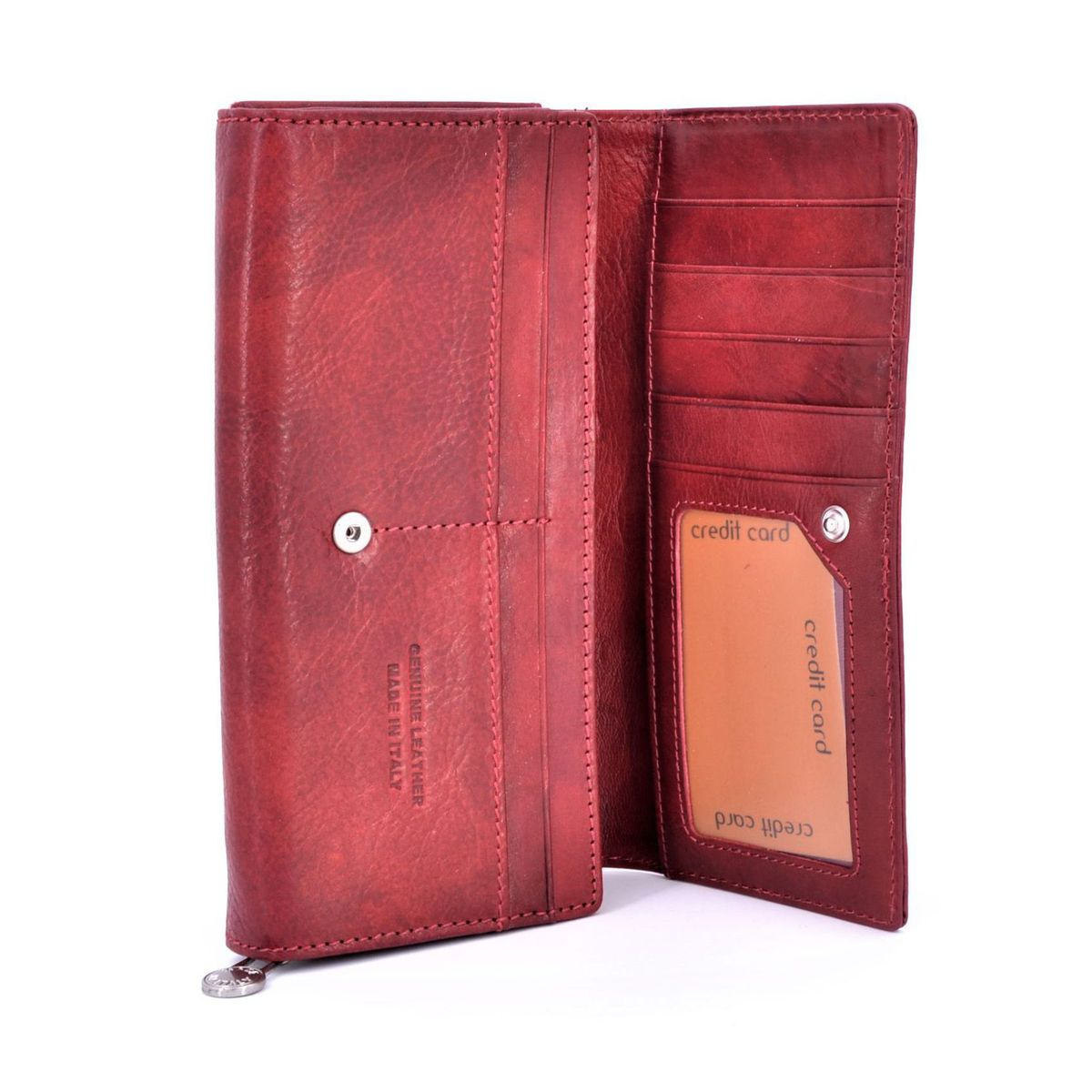 Women's leather button wallet Red BRASS Workshop