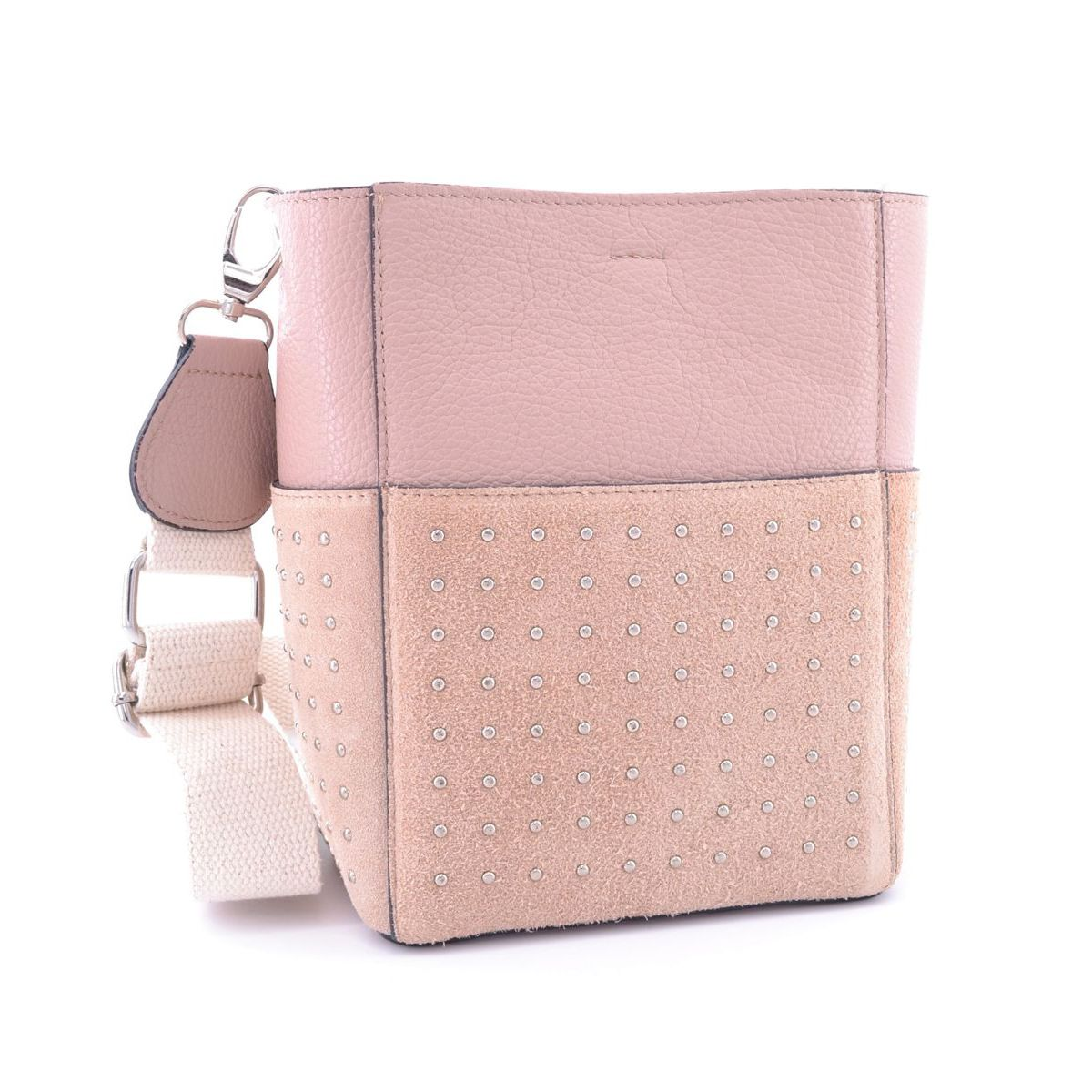 Studded leather bucket with cotton shoulder strap Pink BRASS Workshop