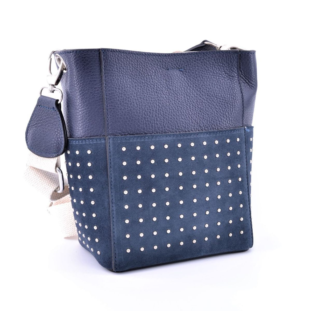 Studded leather bucket with cotton shoulder strap Blue BRASS Workshop