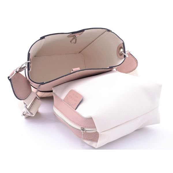 Studded leather bucket with cotton shoulder strap Pink BRASS Workshop