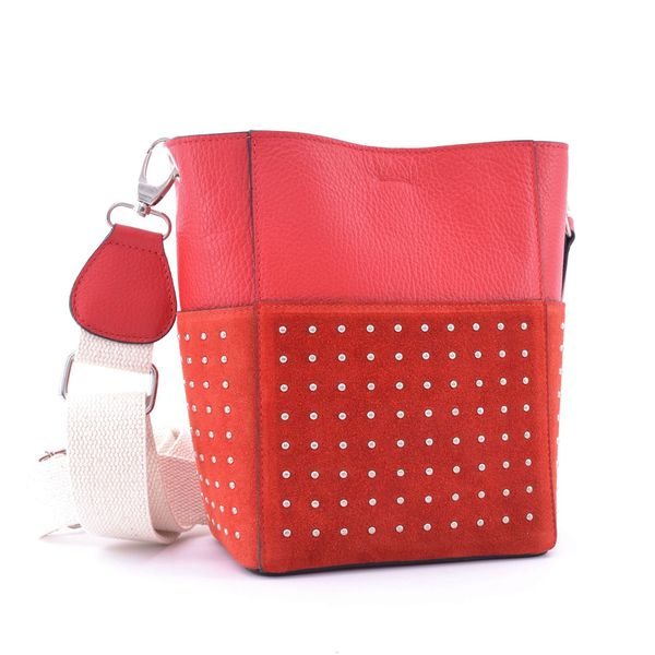 Studded leather bucket with cotton shoulder strap Red BRASS Workshop