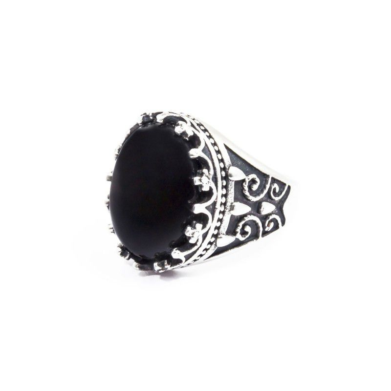 Black agate satin cabochon ring Black Marlù