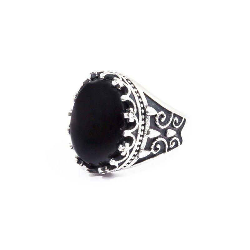 Black agate satin cabochon ring Black Marlù