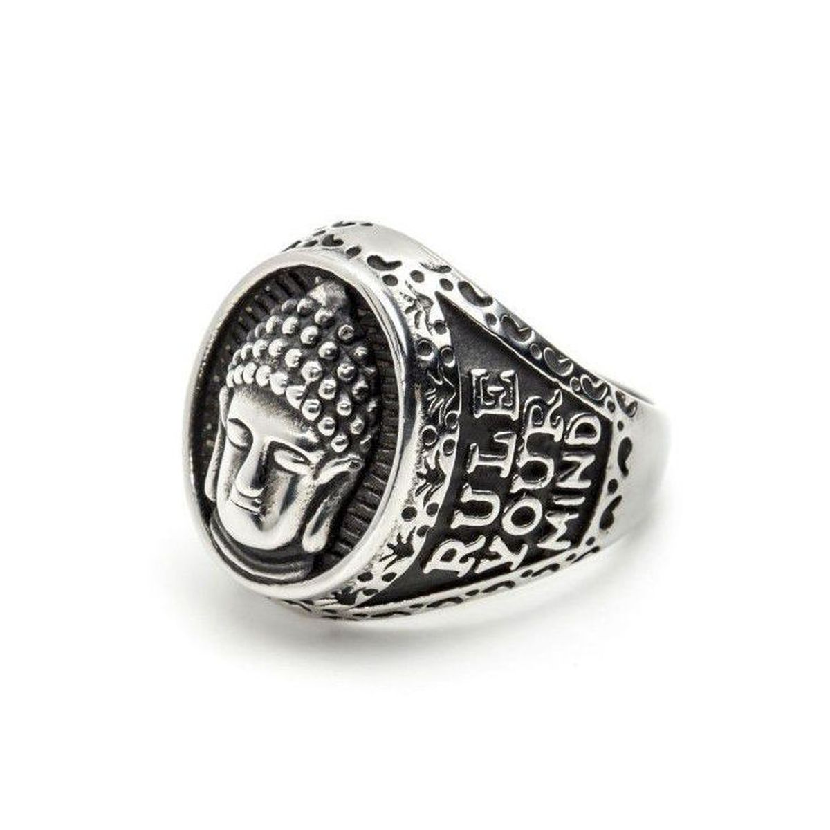 Buddha burnished steel ring Burniched steel Marlù