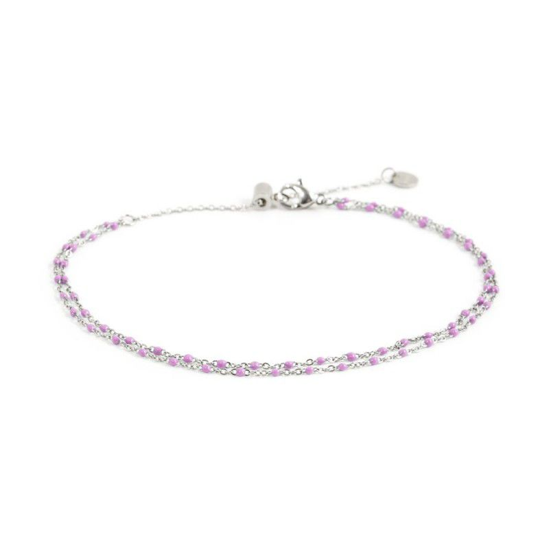 Double wire pink dots anklet Pink Marlù