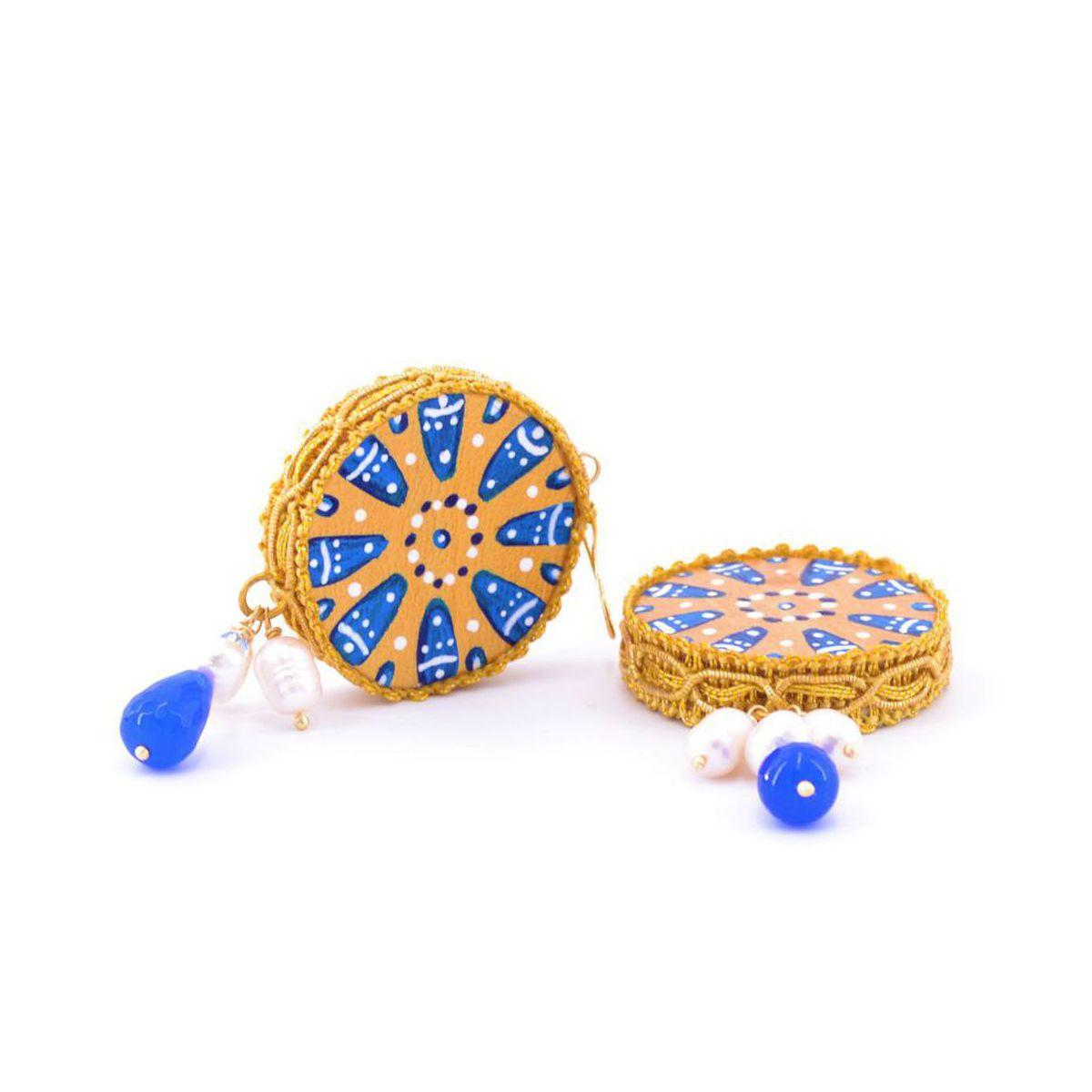 Tambourine Colors 2 earrings Blue Tataratà Bijoux