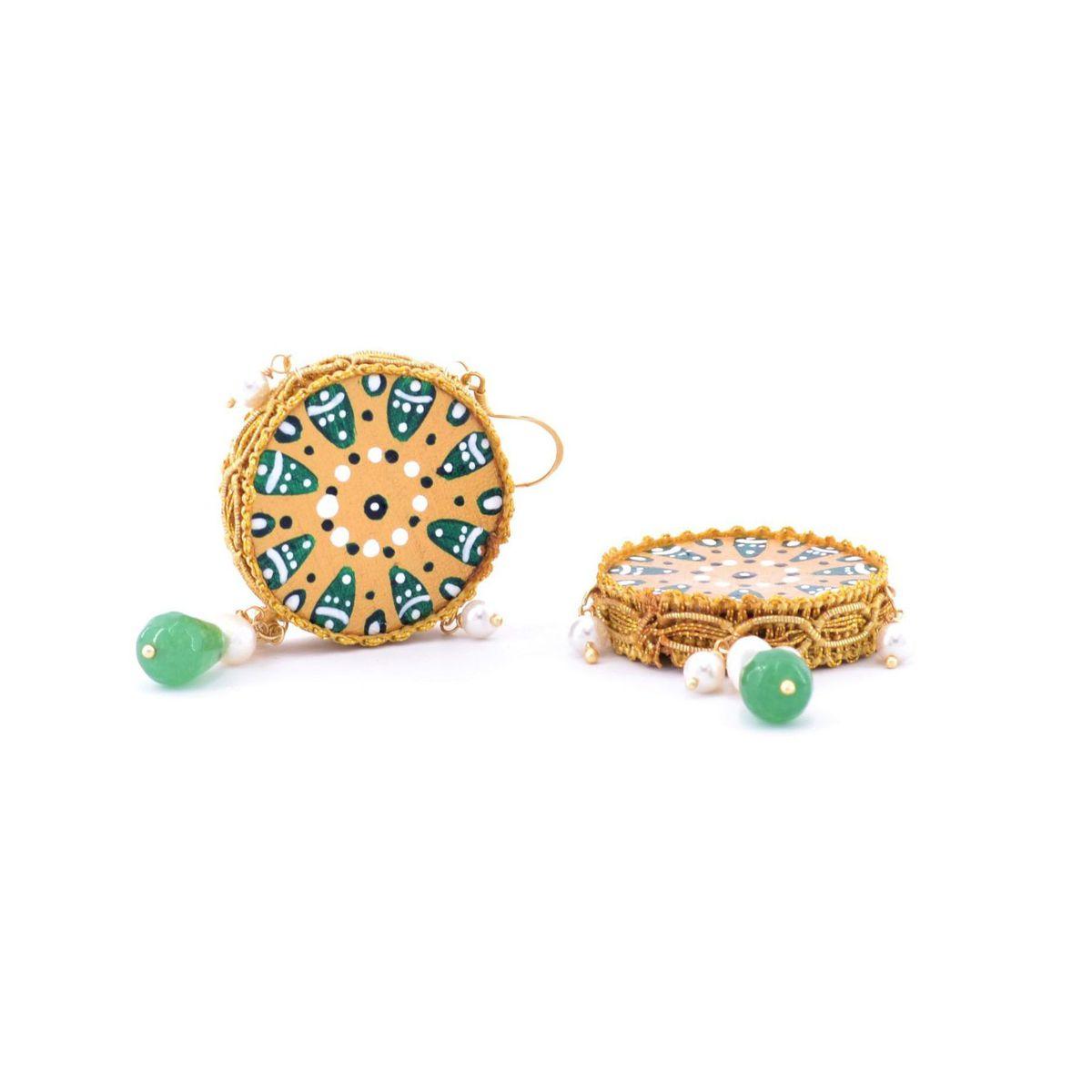 Tambourine Colors 2 earrings Green Tataratà Bijoux