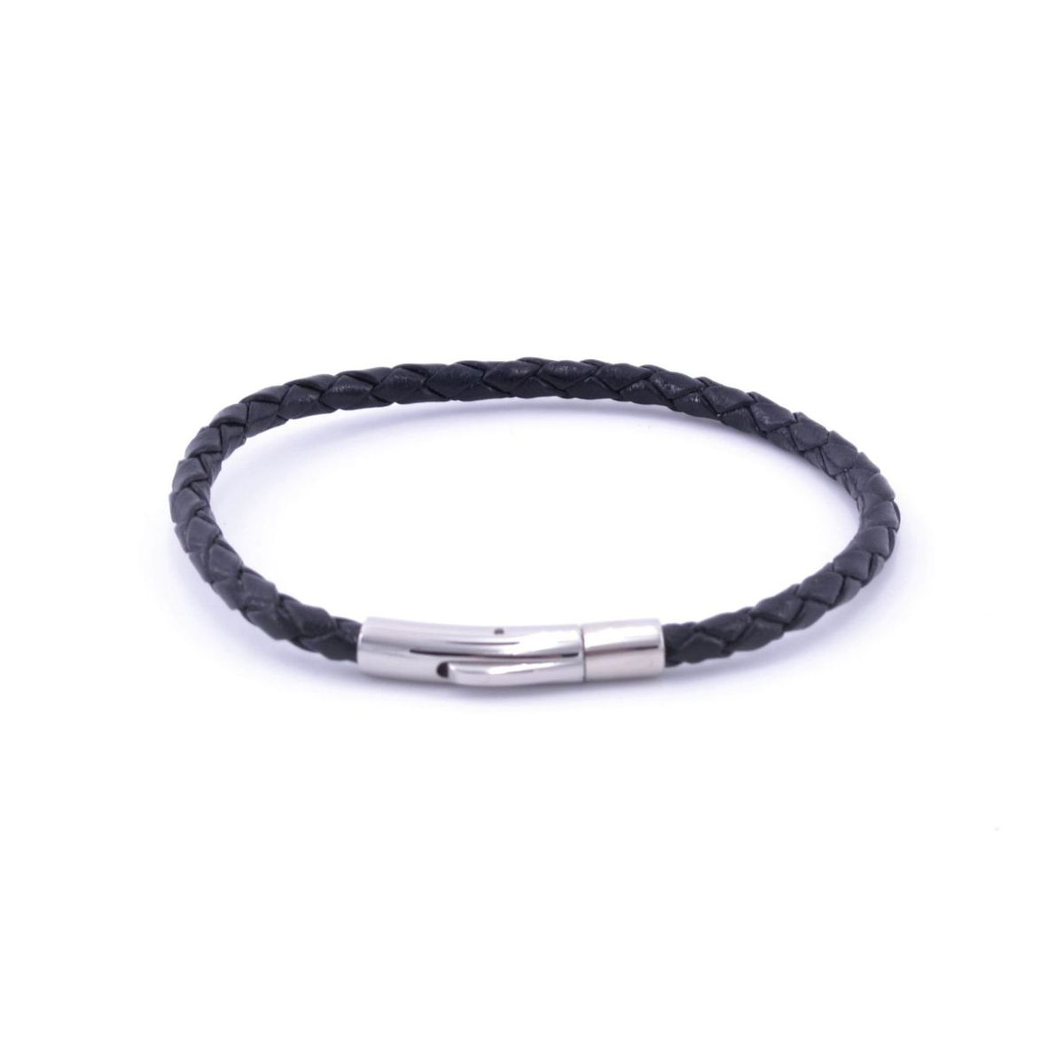 Braided leather bracelet 01 Black BRASS Workshop