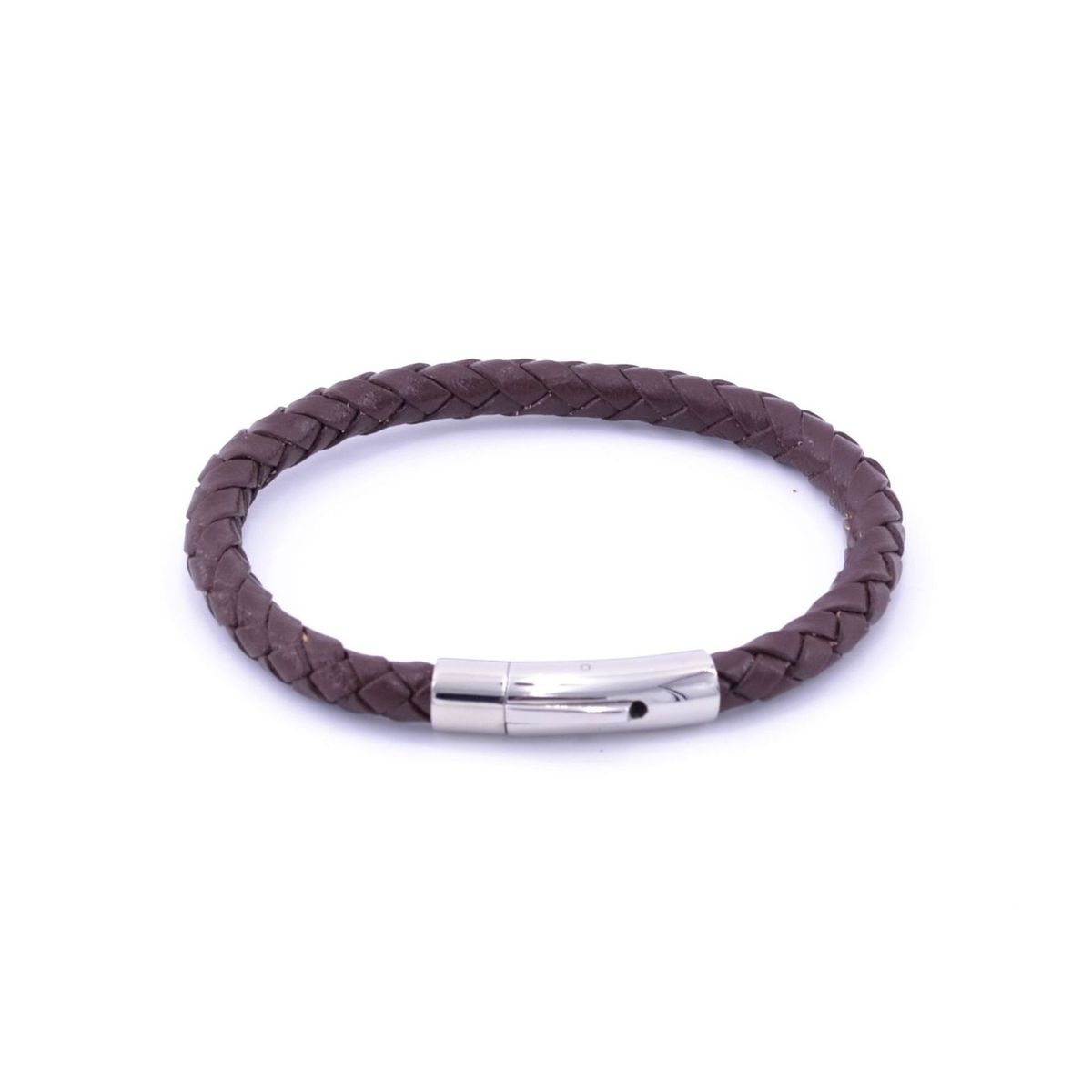 Braided leather bracelet 2 Brown BRASS Workshop