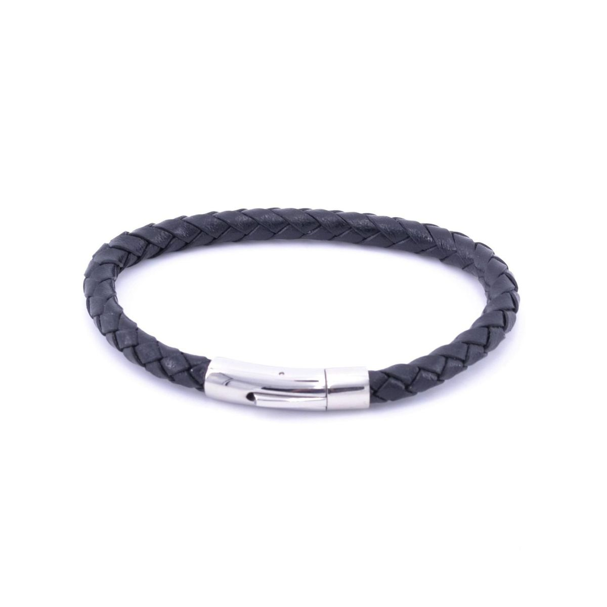 Braided leather bracelet 2 Black BRASS Workshop