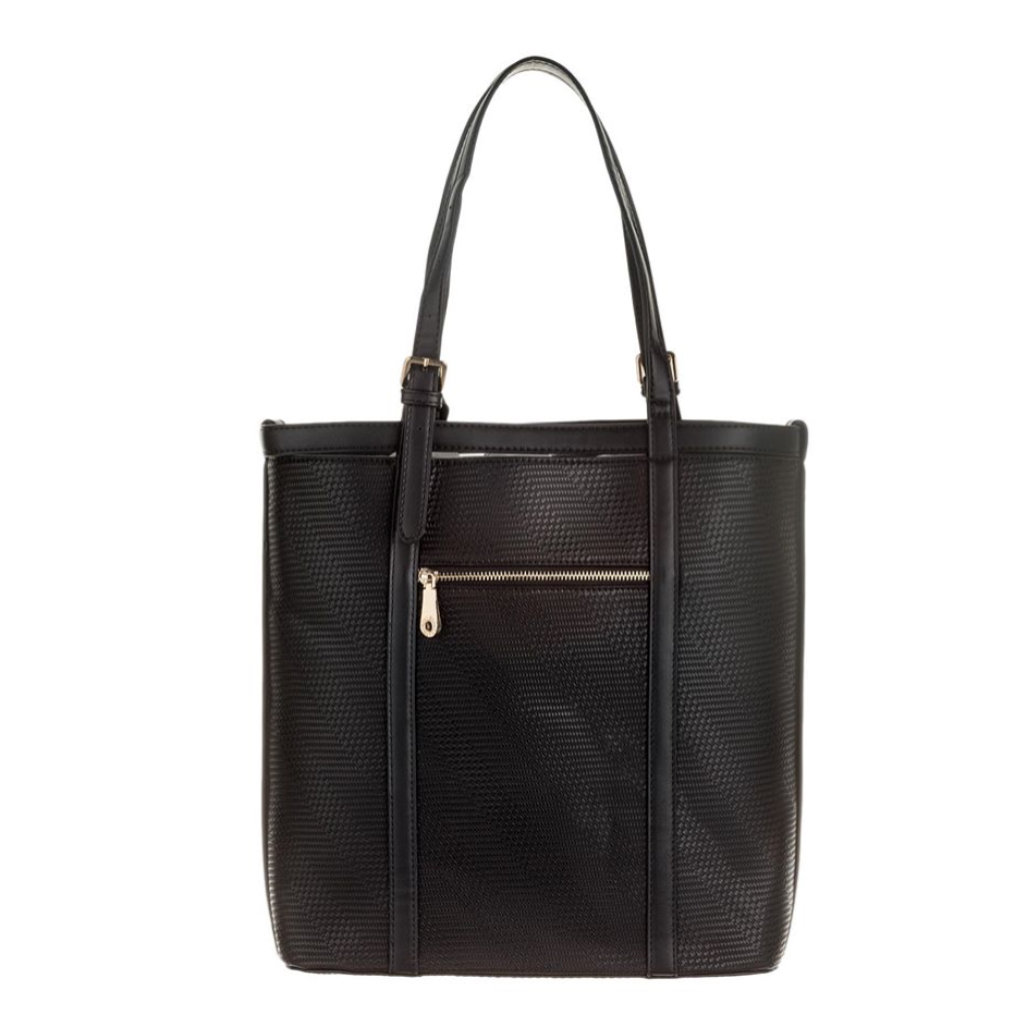 Semi-rigid faux leather bag Black Alessia Massimo