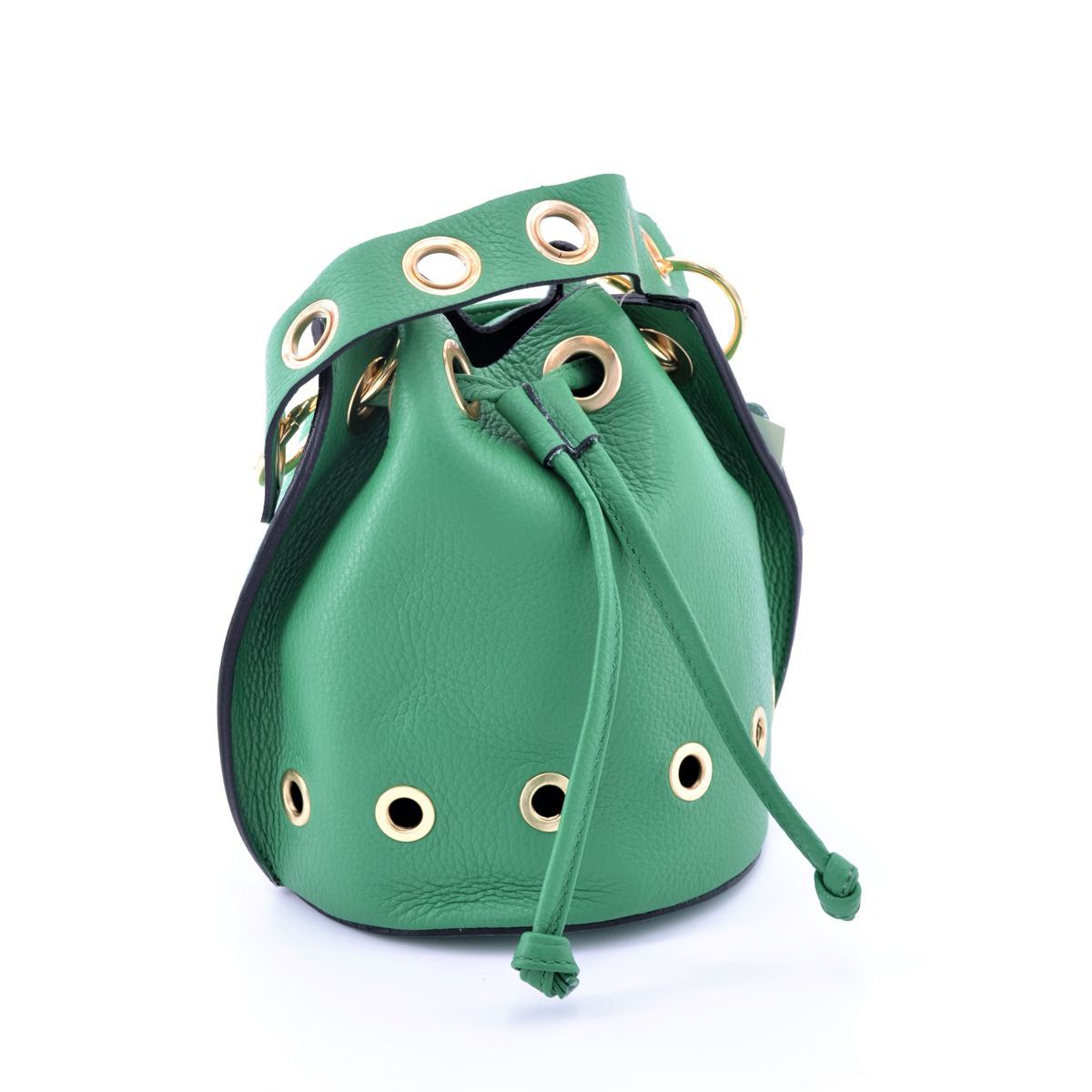 Mini leather bucket with shoulder strap Green BRASS Workshop