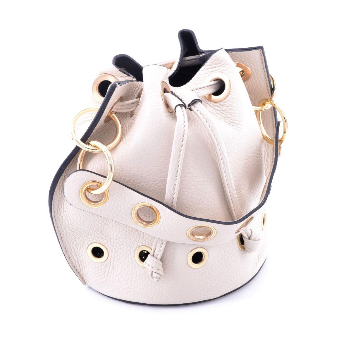 Mini leather bucket with shoulder strap Cream BRASS Workshop