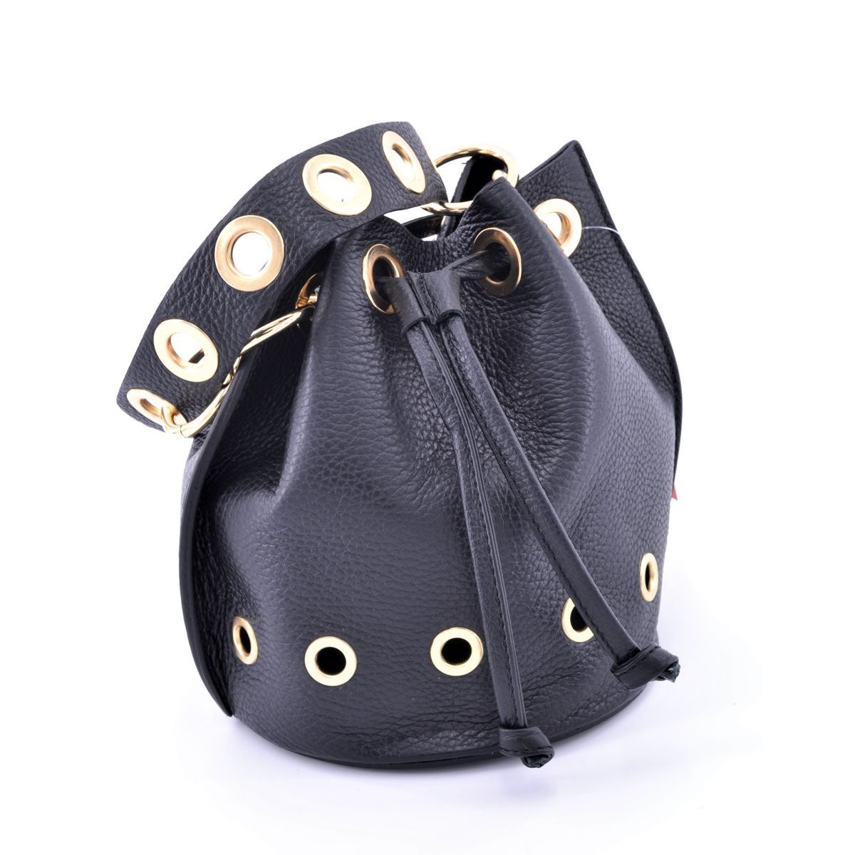 Mini leather bucket with shoulder strap Black BRASS Workshop