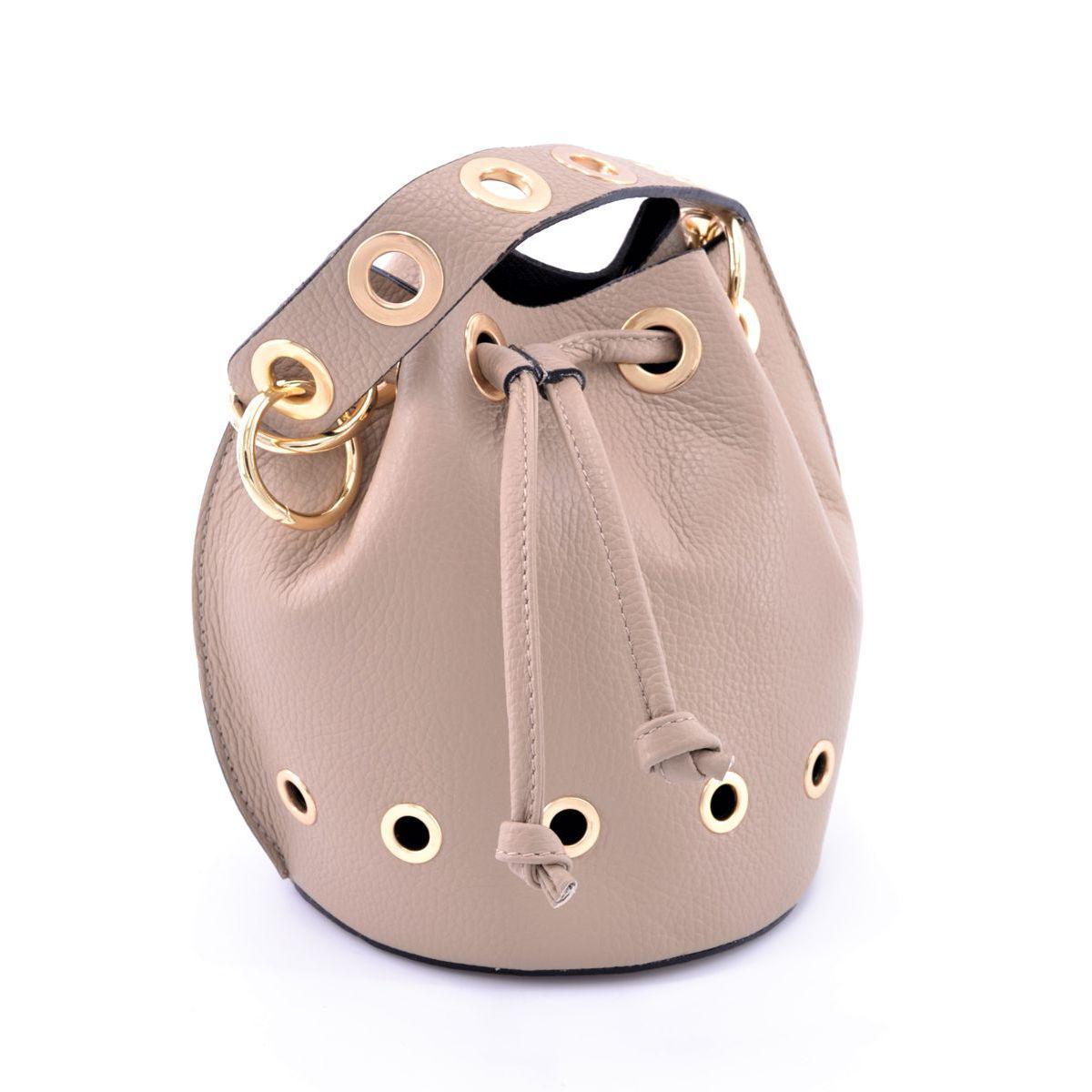 Mini leather bucket with shoulder strap Beige BRASS Workshop