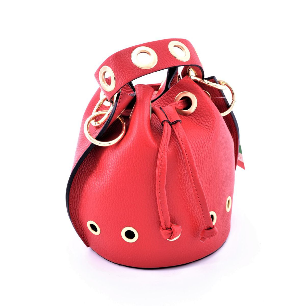 Mini leather bucket with shoulder strap Red BRASS Workshop