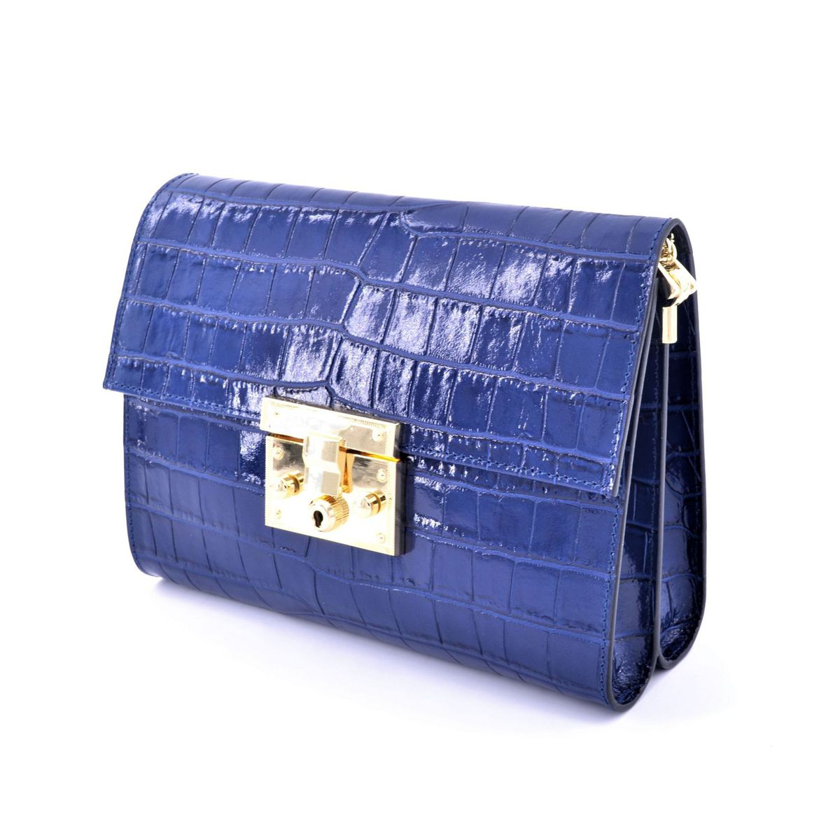 Leather bag with chain Blue BRASS Workshop