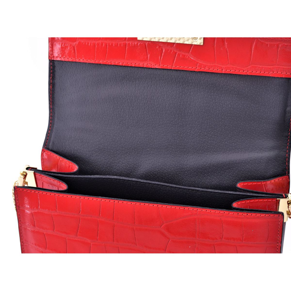 Leather bag with chain Red BRASS Workshop