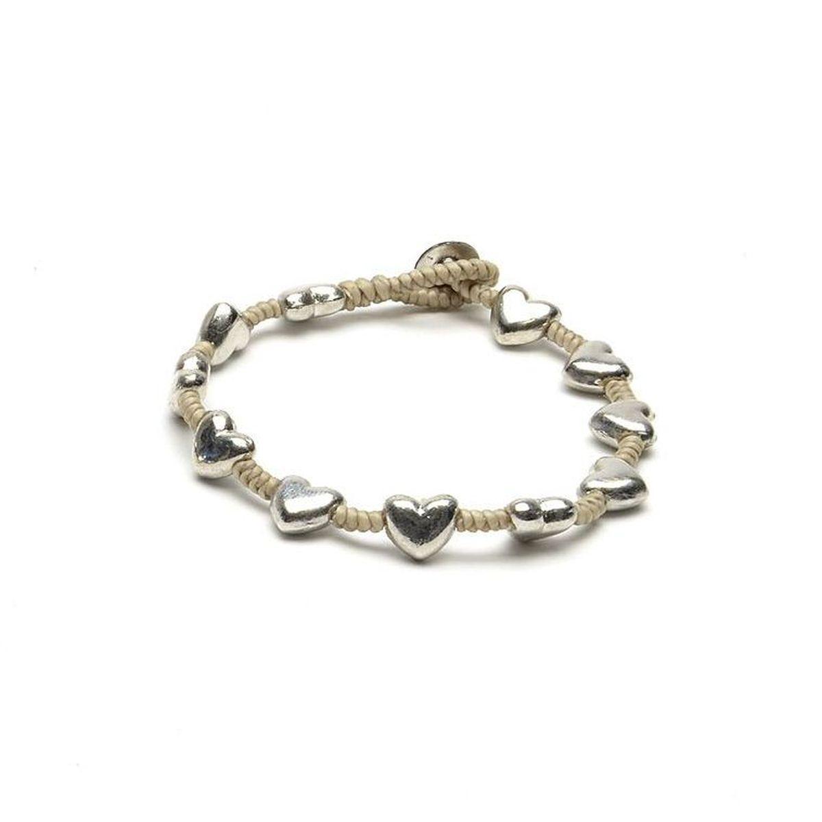 Rounded hearts, bracelet Beige VestoPazzo