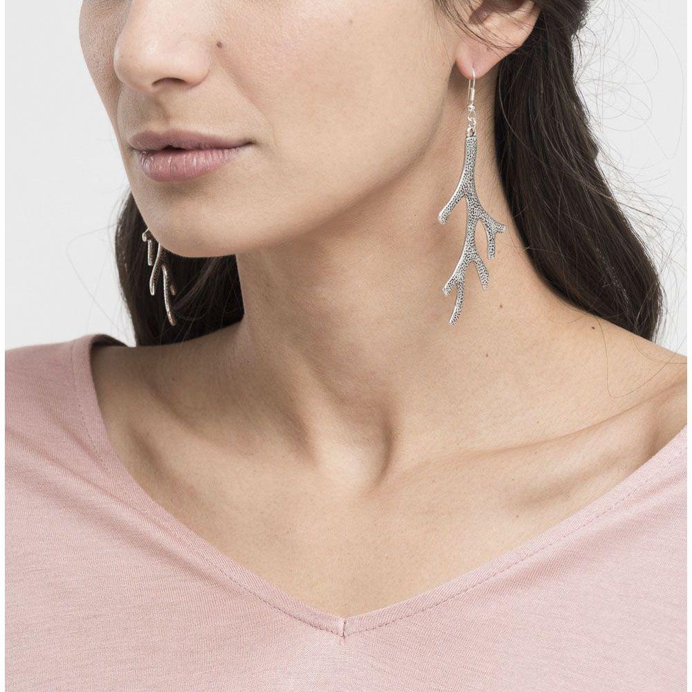Coral pendant earrings Silver VestoPazzo