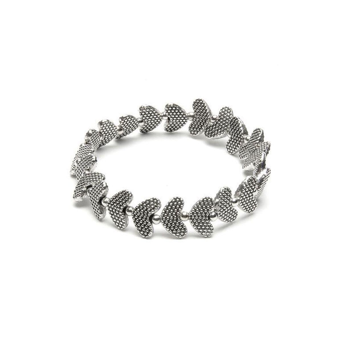 Engraved hearts, elastic bracelet Silver VestoPazzo