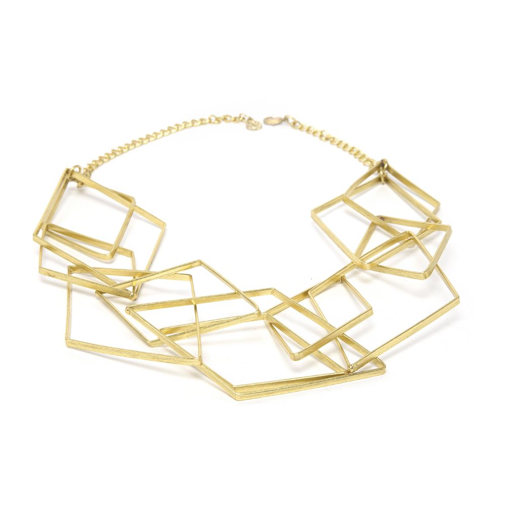 Brass rhombus necklace Gold VestoPazzo