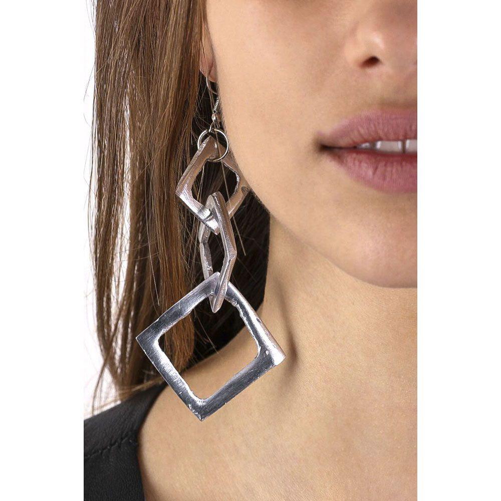 3 squares earrings Aluminium VestoPazzo
