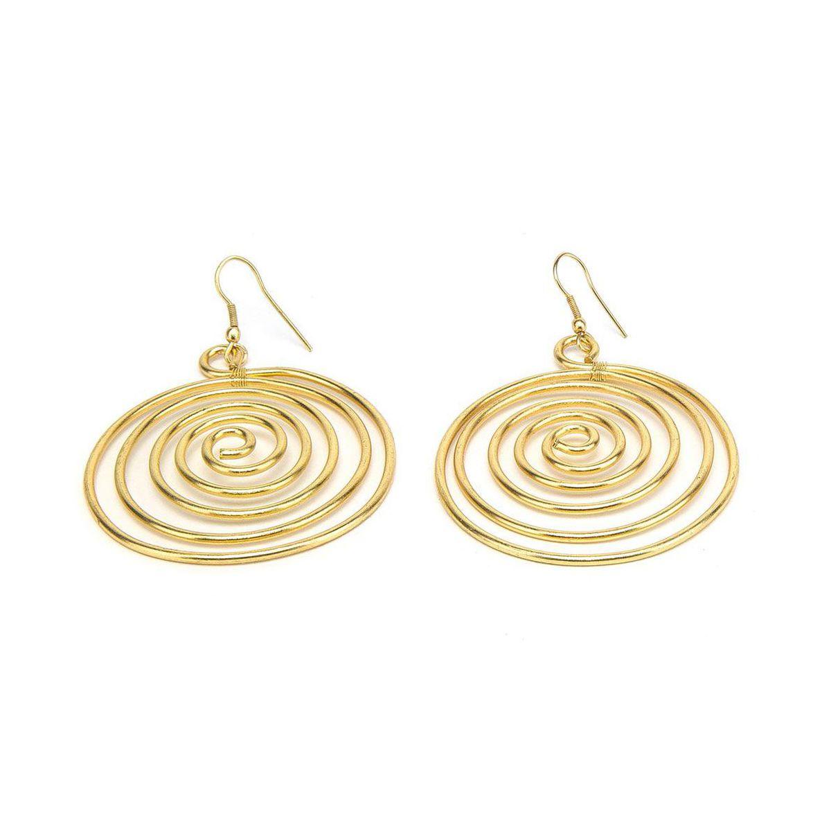 Spiral brass earrings Gold VestoPazzo