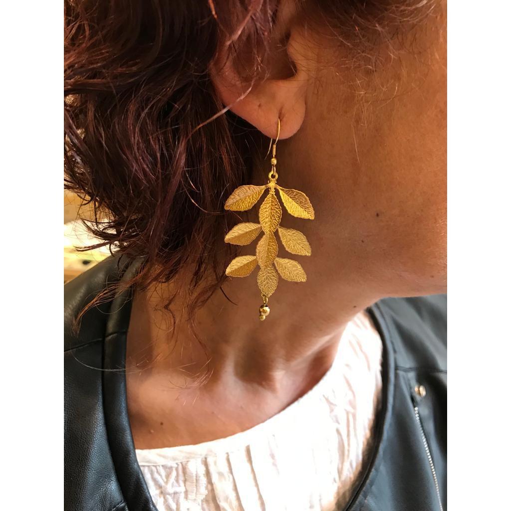 Leaf pendant earrings Gold VestoPazzo