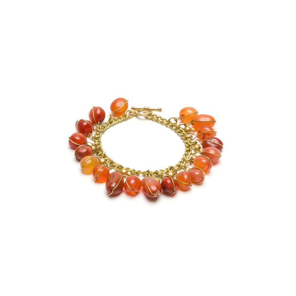 Carnelian pendants bracelet Gold VestoPazzo