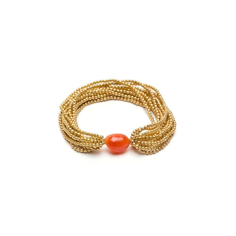 Carnelian multi-strand elastic bracelet Gold VestoPazzo