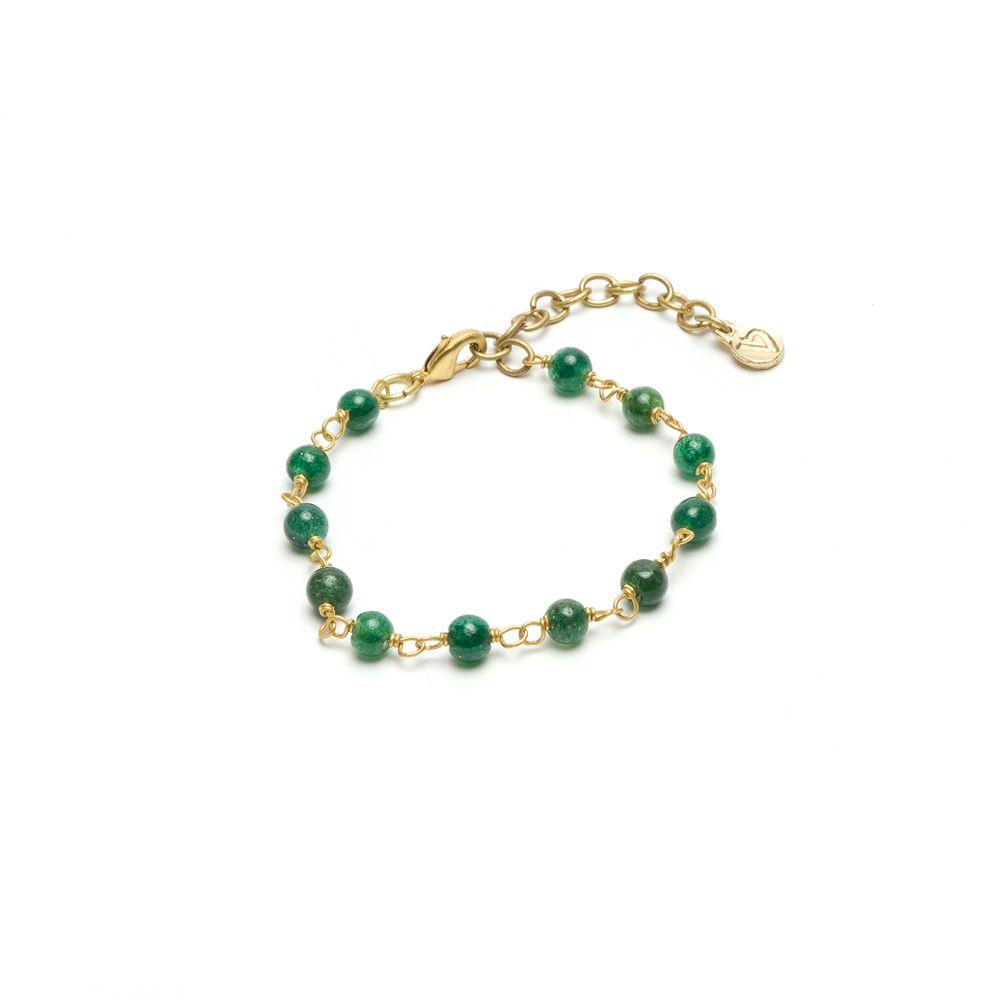 Green agate spheres chain bracelet Green VestoPazzo