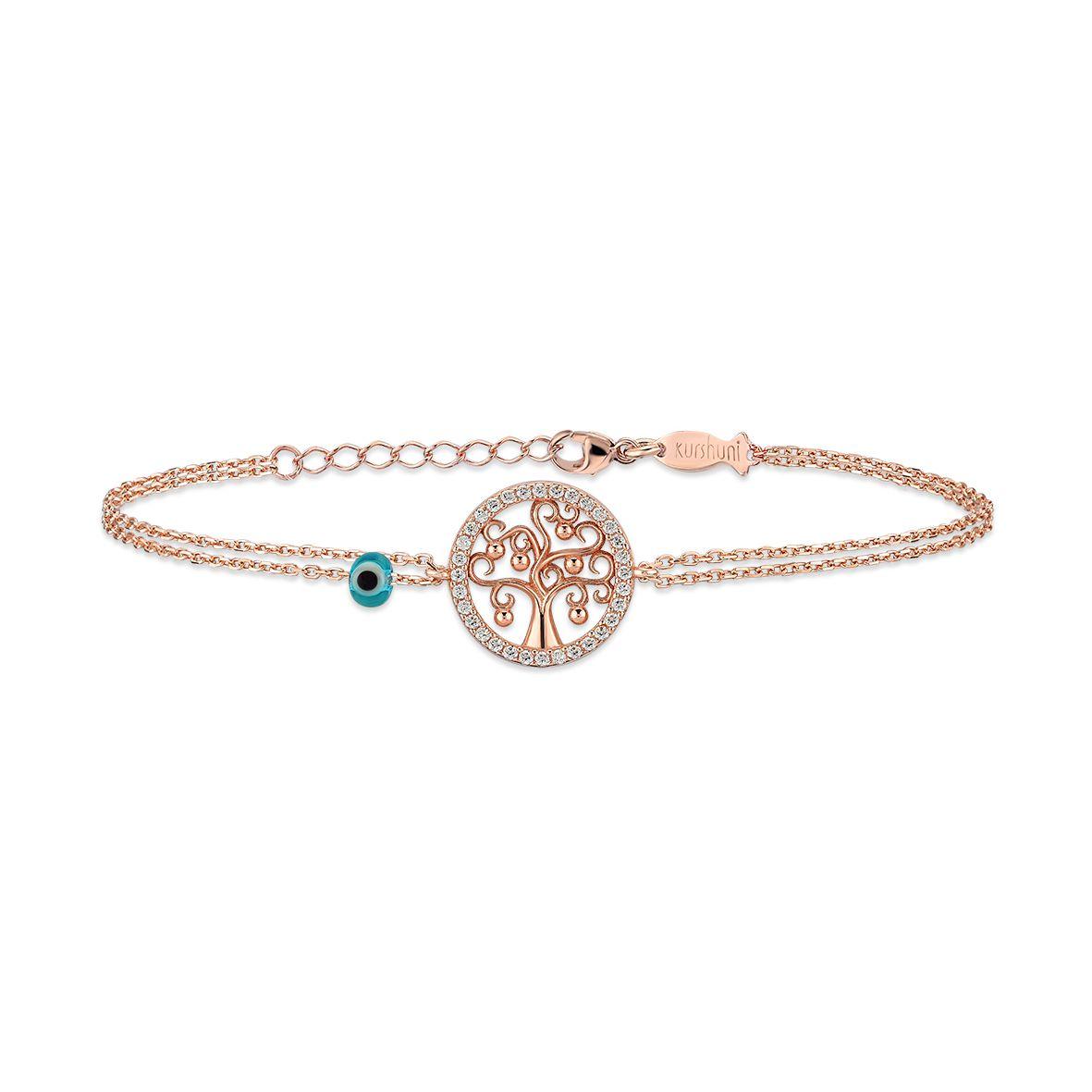 Tree of life, sterling silver bracelet Rosegold Kurshuni