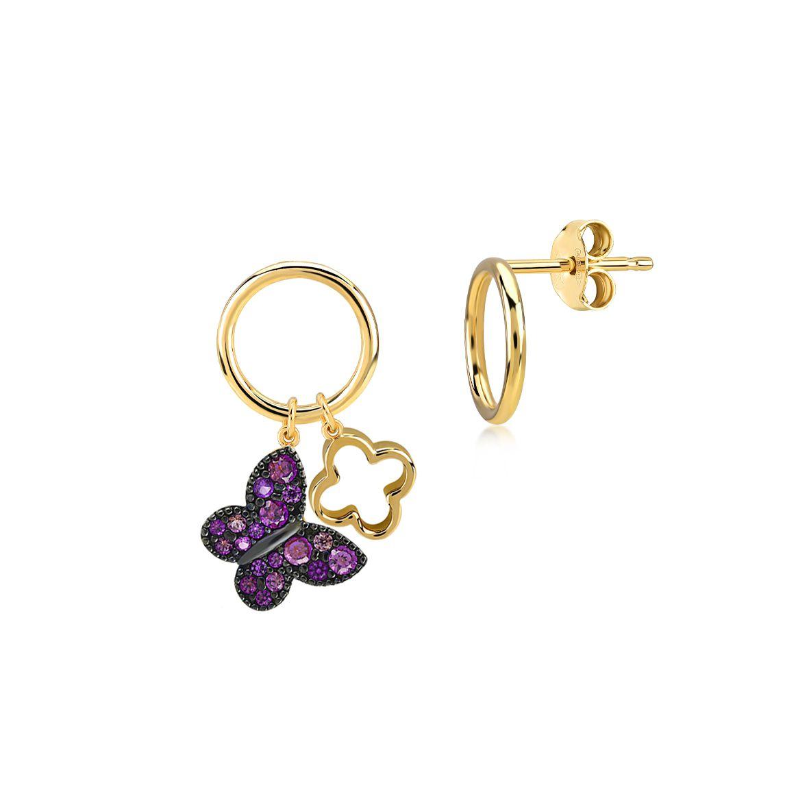Gipsy secret garden asimmetric, sterling silver earrings Gold Kurshuni