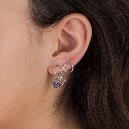 Gipsy secret garden asimmetric, sterling silver earrings Silver Kurshuni