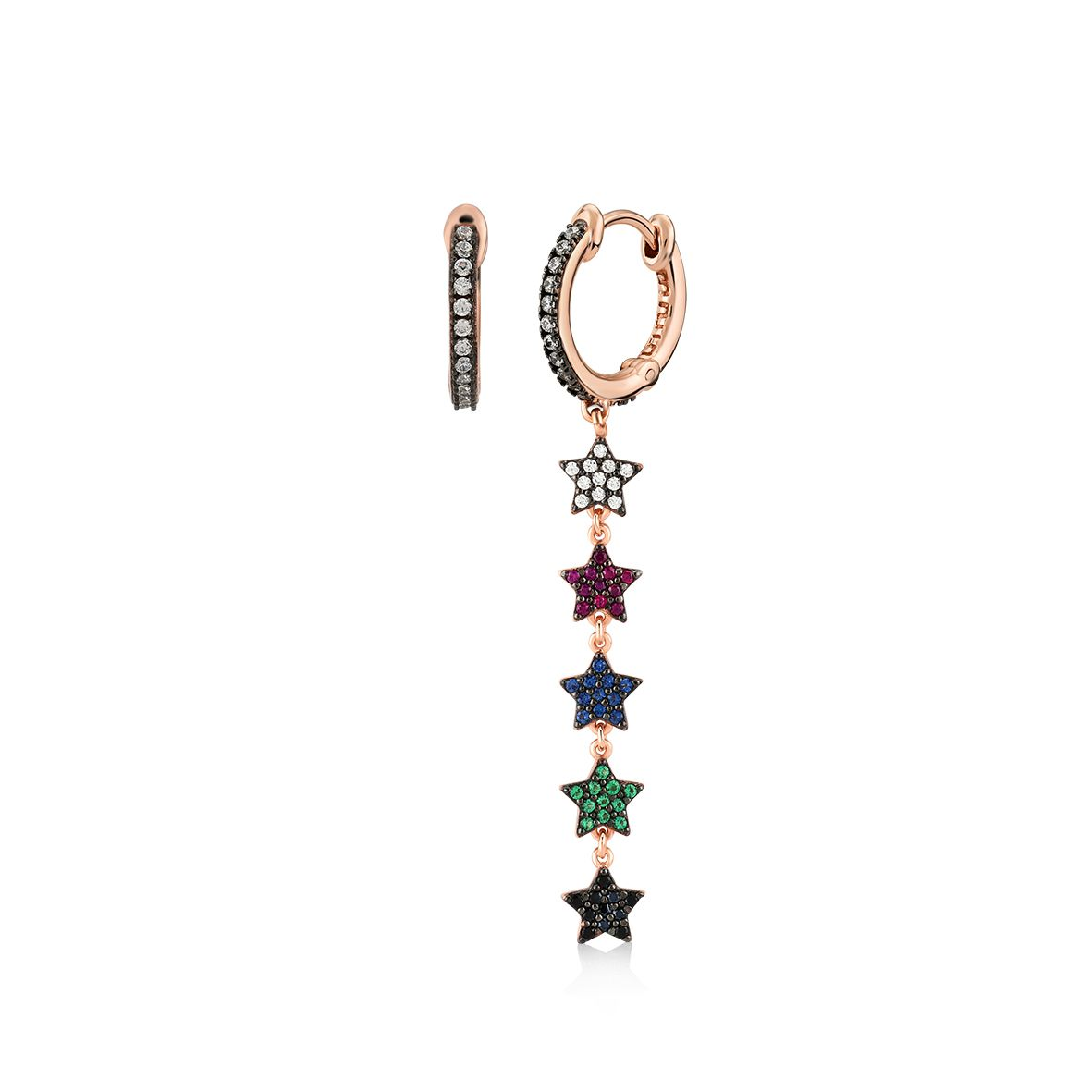 Stars asymmetric, sterling silver earrings Gold Kurshuni