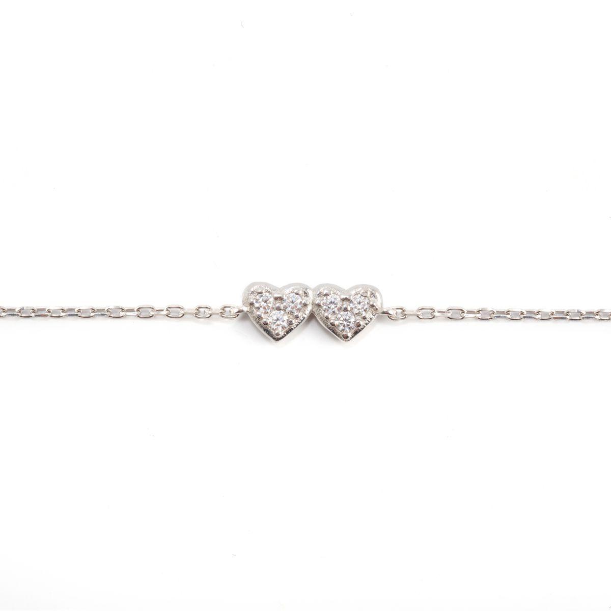 Twin heart, sterling silver bracelet Silver Kurshuni