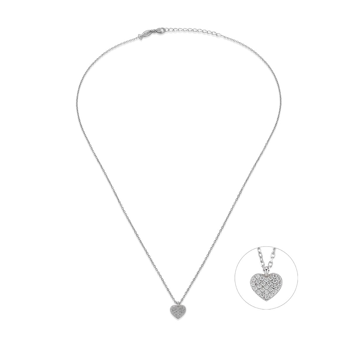 Heart, sterling silver necklace Silver Kurshuni