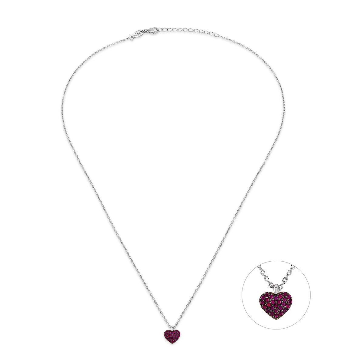 Rubin Heart, sterling silver necklace Silver Kurshuni