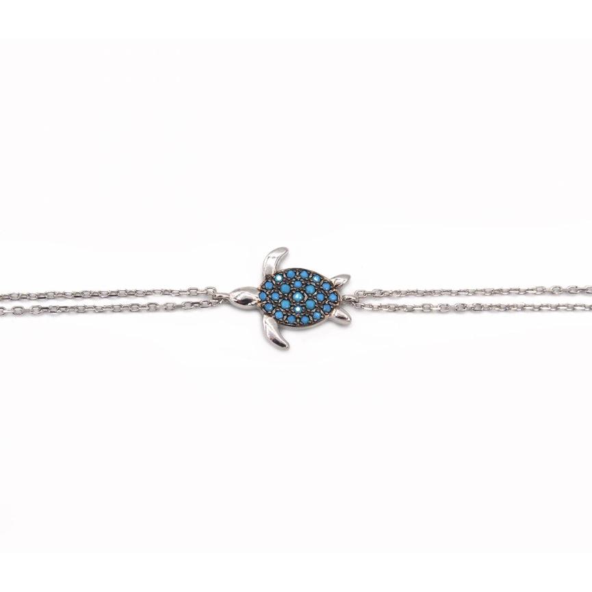 Turtle, sterling silver bracelet Turquoise Kurshuni