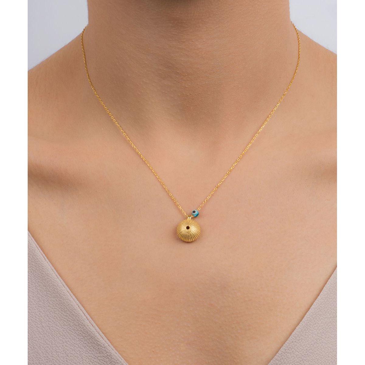 Sea Urchin, sterling silver necklace Gold Kurshuni