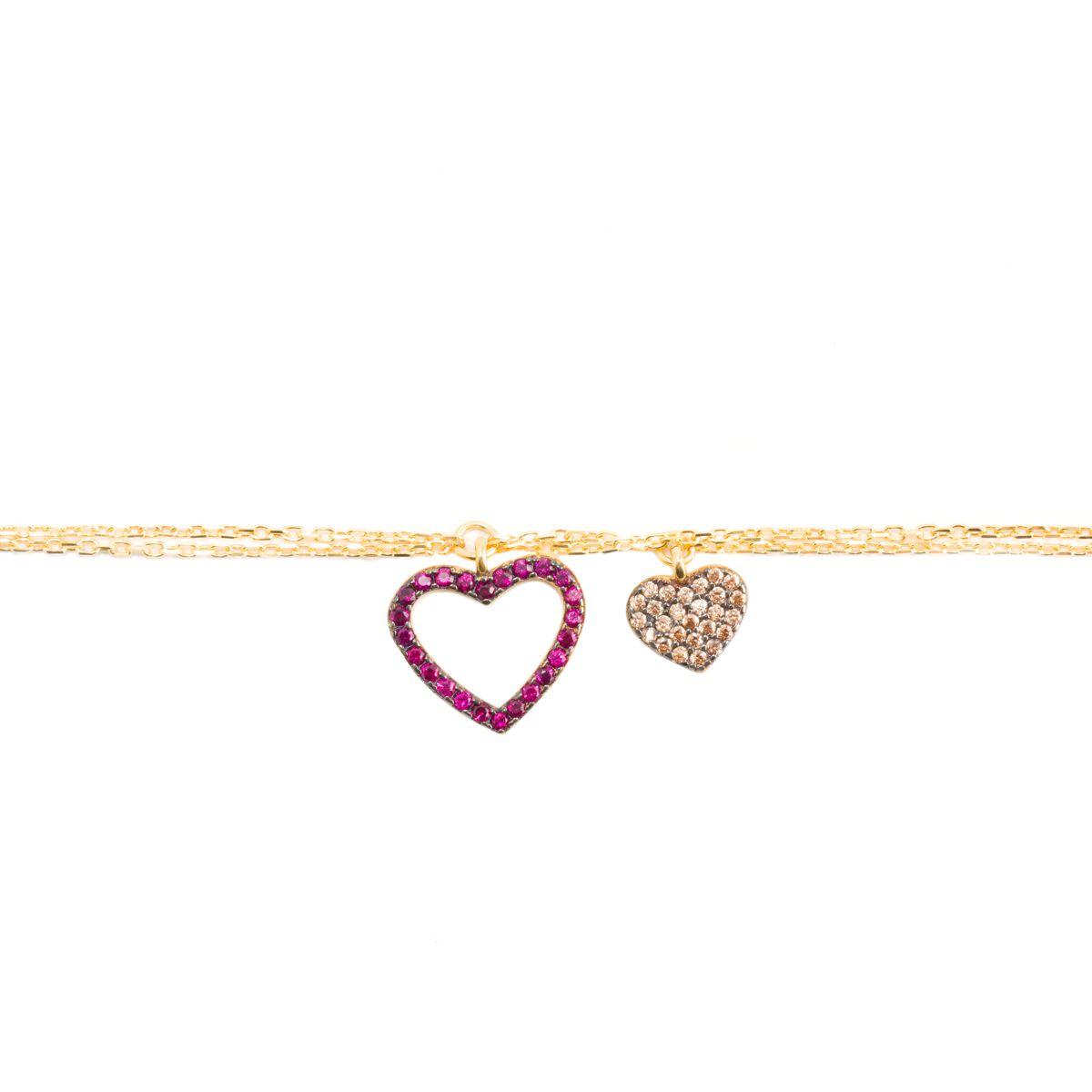 Hearts, sterling silver bracelet Gold Kurshuni