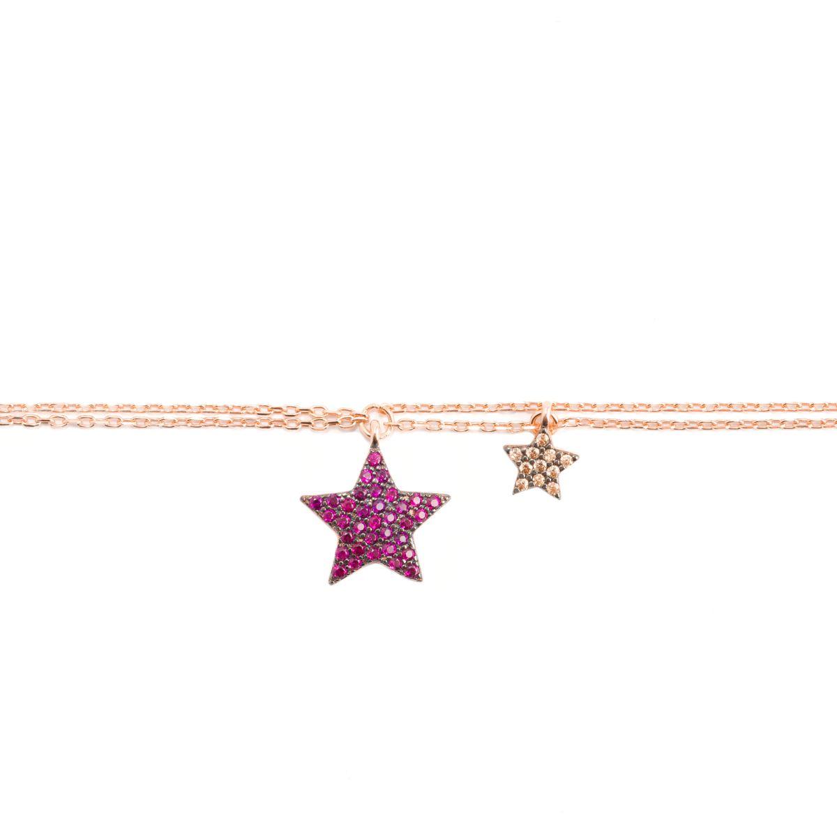 Stars, sterling silver bracelet Rosegold Kurshuni