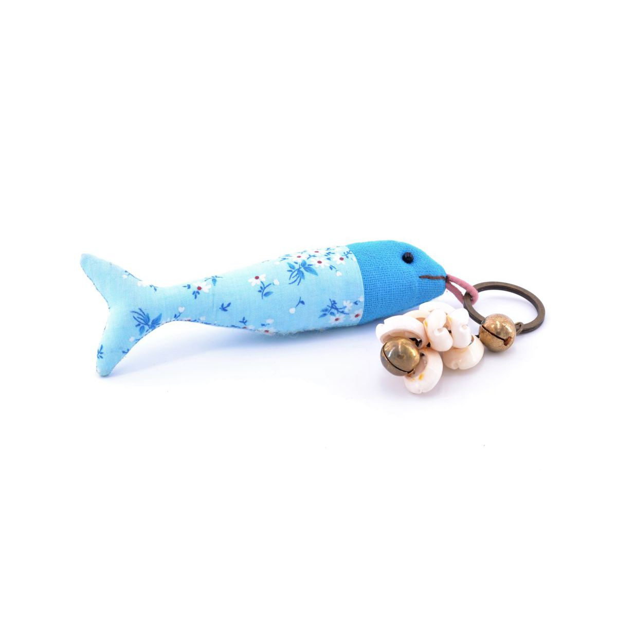 Fish, kaychain Light blue BRASS Workshop
