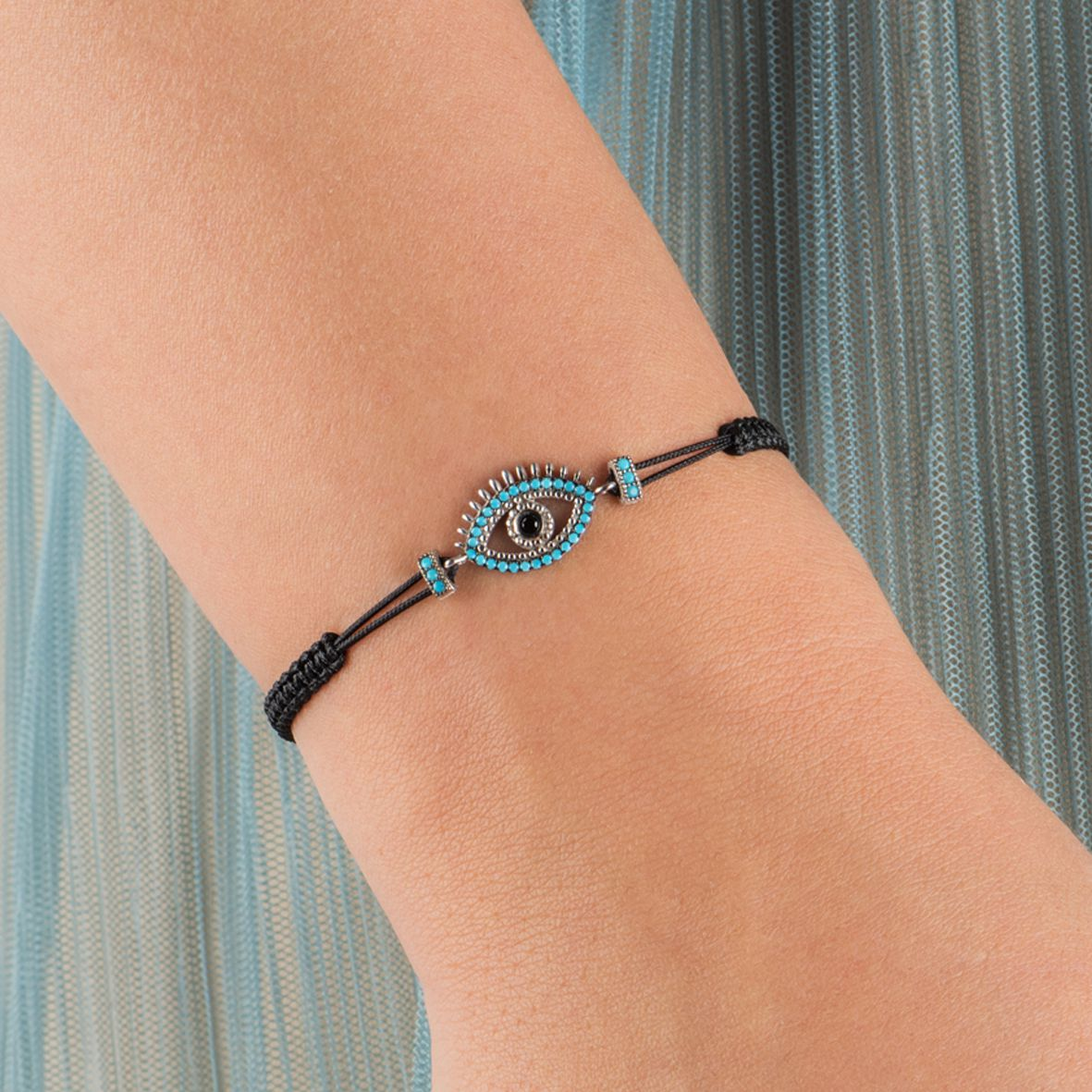 Nazar, sterling silver bracelet with string Rosegold Kurshuni