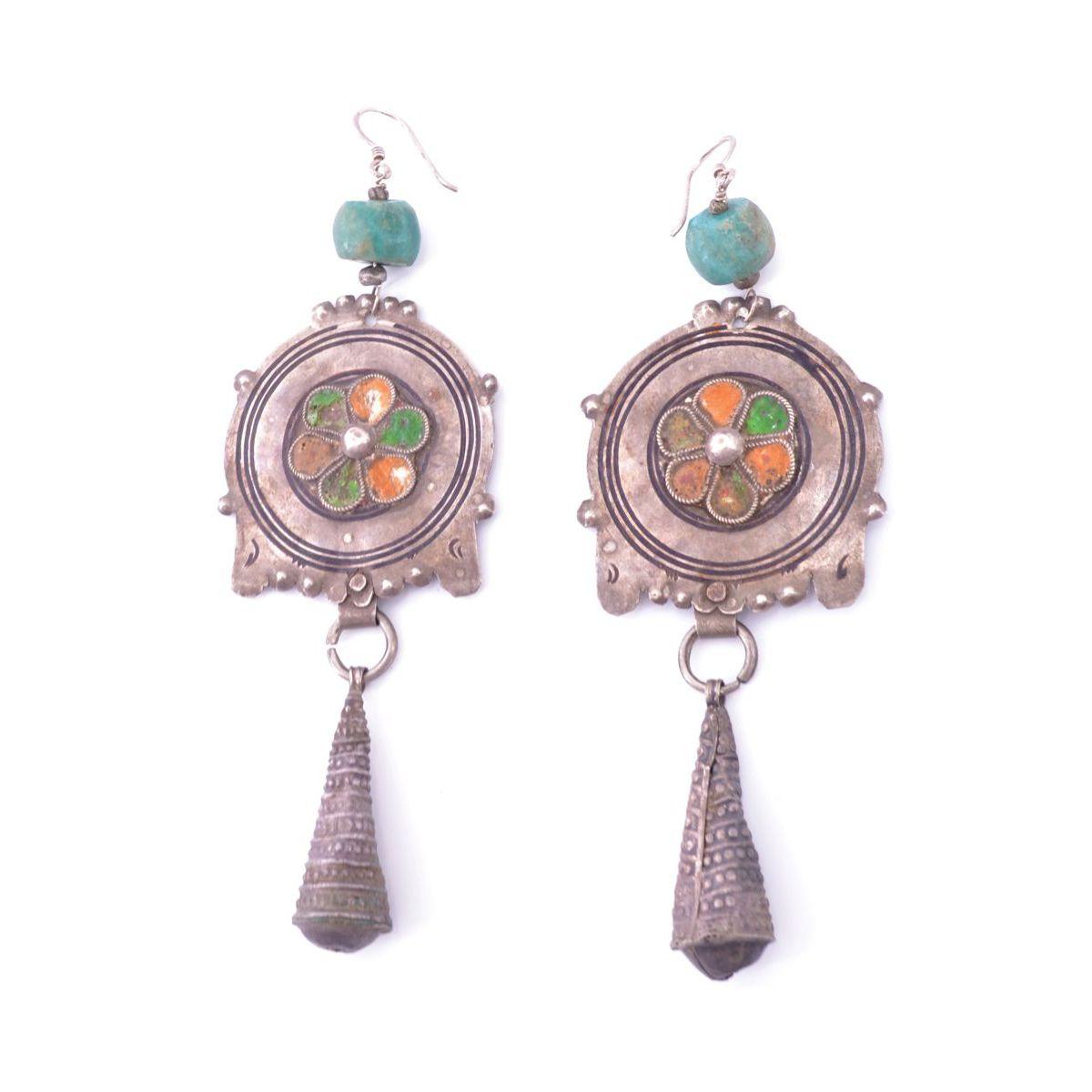 Tiznit 01 drop earrings Green BRASS Gioielli