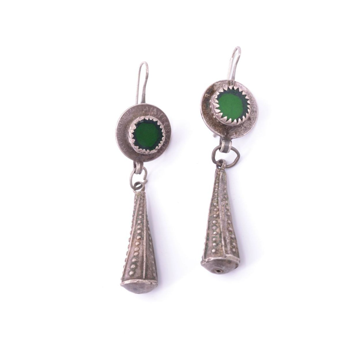 Tinzit 02 drop earrings Green BRASS Gioielli