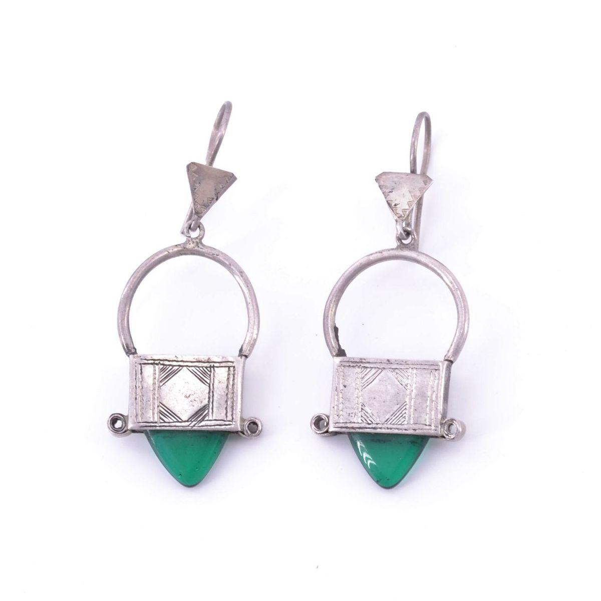 Circle pendant earrings Green BRASS Gioielli