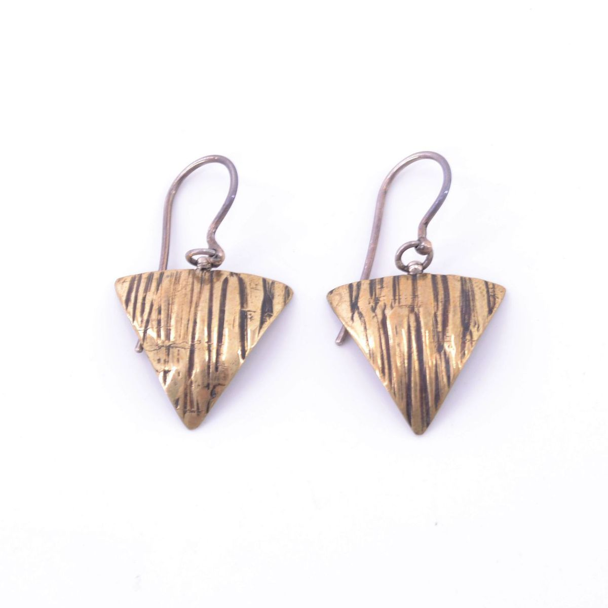 Drop earrings with striped triangle Silver BRASS Gioielli