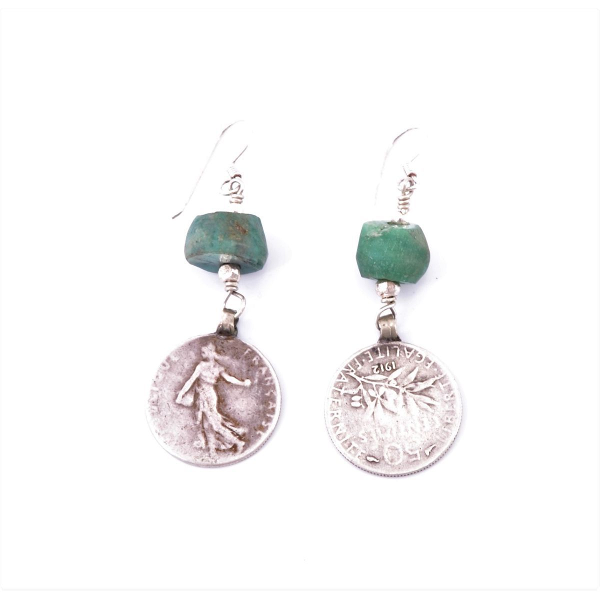 French coin pendant earrings Green BRASS Gioielli